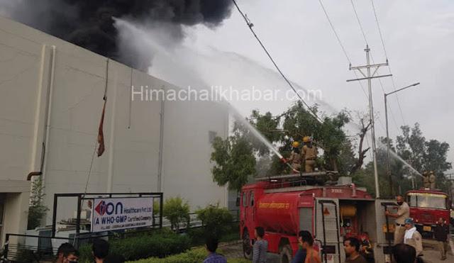 हिमाचल :फैक्ट्री में लगी भीषण आग, फायर ब्रिगेड मौके पर मौजूद