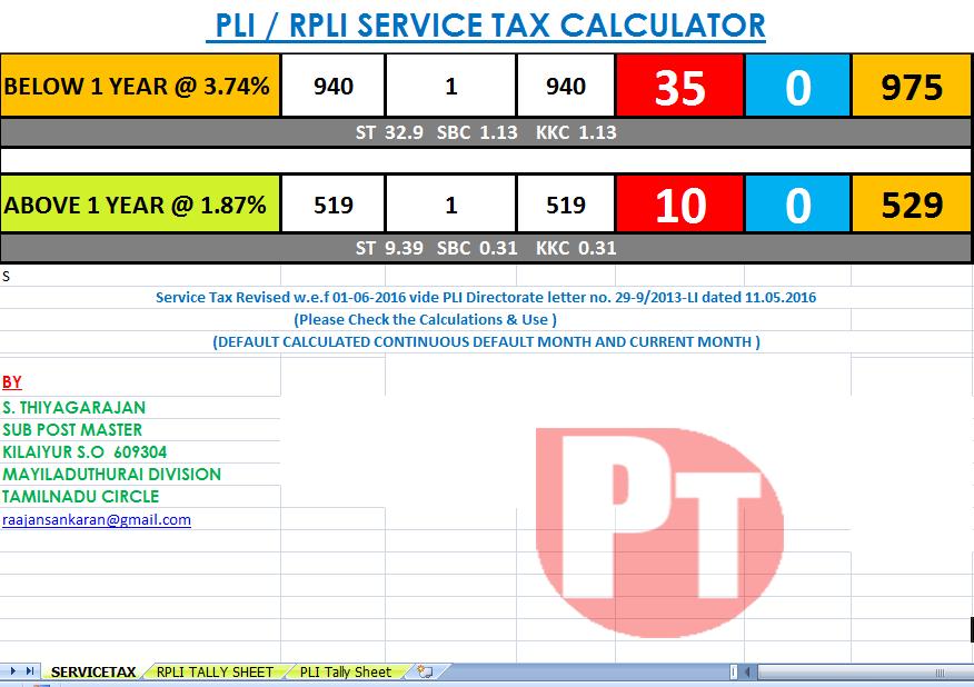service tax calculator and tally sheet tool for pli rpli po tools