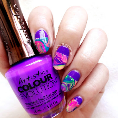 Neon Drip Marble Nails