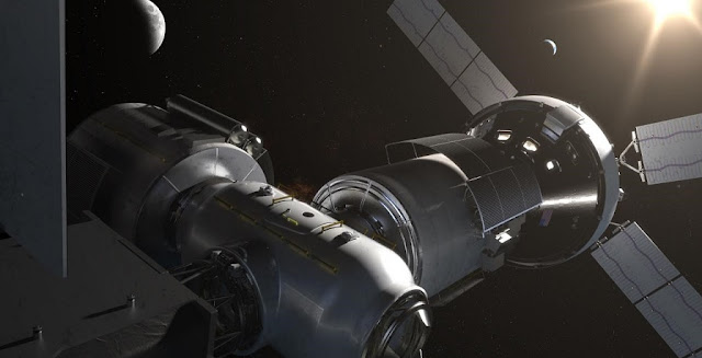 An artist concept of the Deep Space Gateway. Credit: NASA