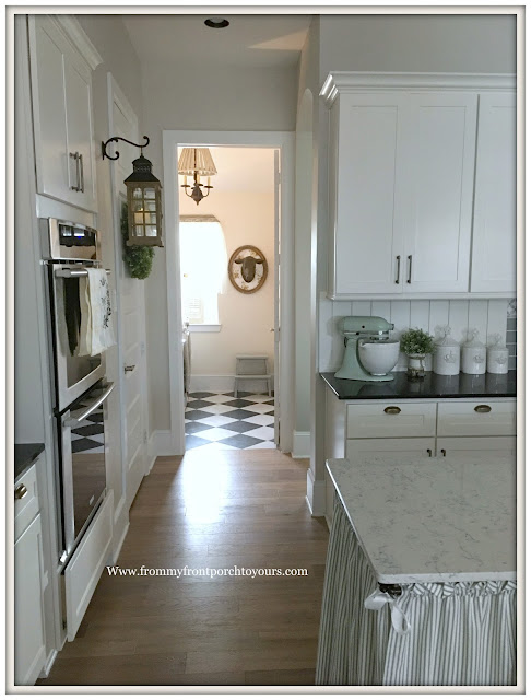French Country Farmhouse Kitchen-Cottage Style-French Farmhouse-Skirted Kitchen Island-Chekered Flooring-From My Front Porch To Yours