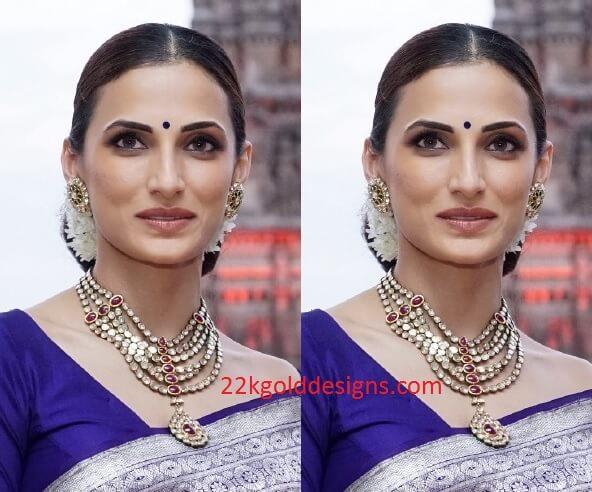 Shilpa Reddy in Step Kundan Necklace