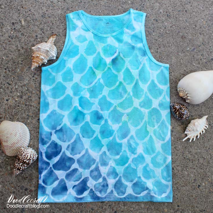 Make a mermaid fish scale patterned tie dye shirt with these simple instructions for tulip one step tie dyes.