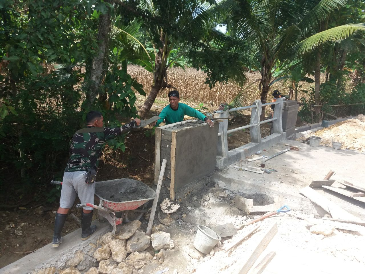 Pembangunan Jembatan TMMD Kodim 1407/Bone Hampir Rampung