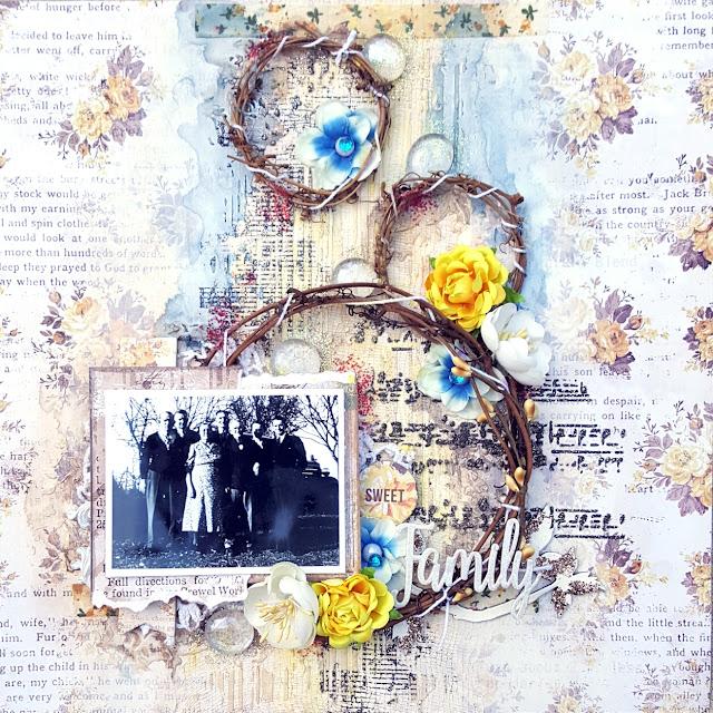Family Vintage Mixed Media Scrapbook Layout Jessica McFall