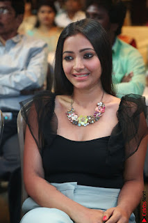 Swetha Basu in a Black Sleeveless Top Long Skirt at Mixture Potlam Movie Audio Launch 060.JPG
