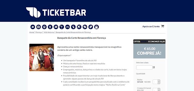 Ticketbar para ingressos para um banquete da corte renascentista em Florença