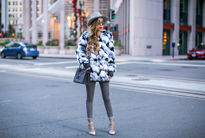 patchwork faux fur coat, faux fur coat, jimmy choo sunglasses, baublebar earrings, hat attack ny hat, saint laurent sac de jour bag, blank denim jeans, aquazzura amazon pumps, lace up pumps, san francisco fashion blog, san francisco street style, winter outfit ideas