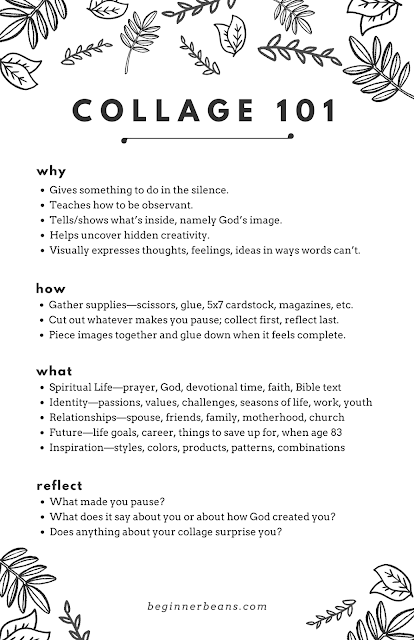 How to Collage: Benefits of making a collage, how to get started, themes to collage about, and reflection questions for when you're done.
