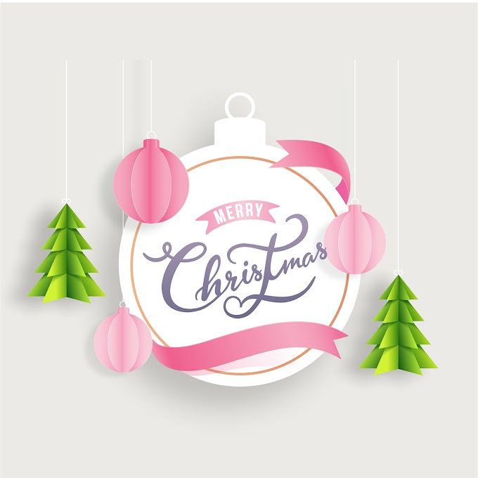 Merry Christmas decorated with paper free vector