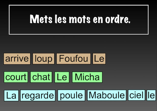 Interactive SMART Notebook Activities - La poule Maboule - mets les mots en ordre