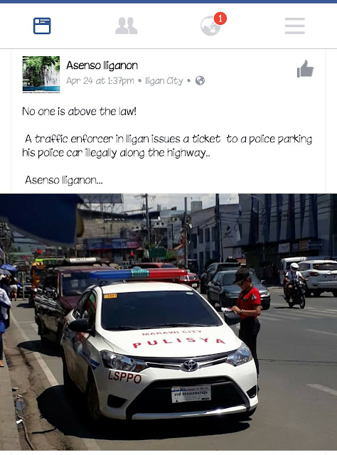 A Traffic Enforcer in Illigan Issued A Ticket To A Police Officer Who Illegally Parked His Car Along The Highway!