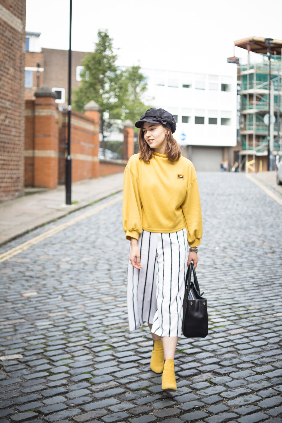 yellow outfit walking