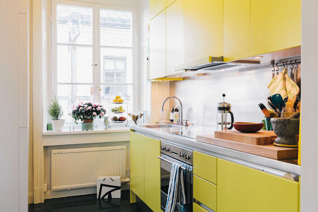 yellow kitchen modern stainless steel backsplash counters interior design home decor