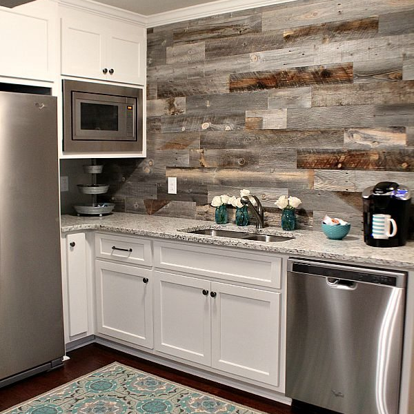Barn Wood Backsplash {view tutorial}