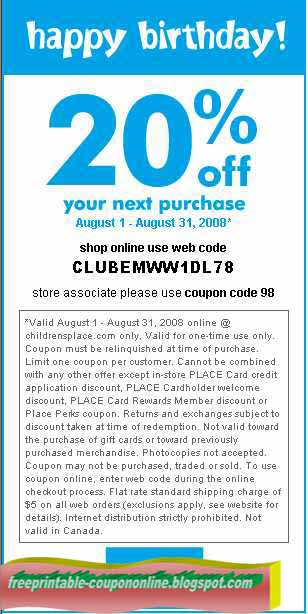 Childrens place discount coupon