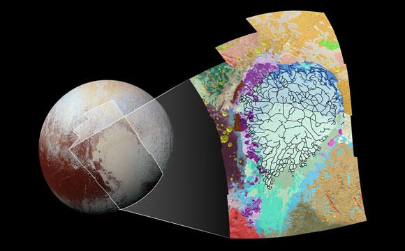 Este mapa muestra en detalle parte izquierda con forma de corazón en Plutón, utilizando colores para representar terrenos variados del planeta enano, lo que ayuda a los científicos a entender los procesos geológicos complejos ocurridos allí.
