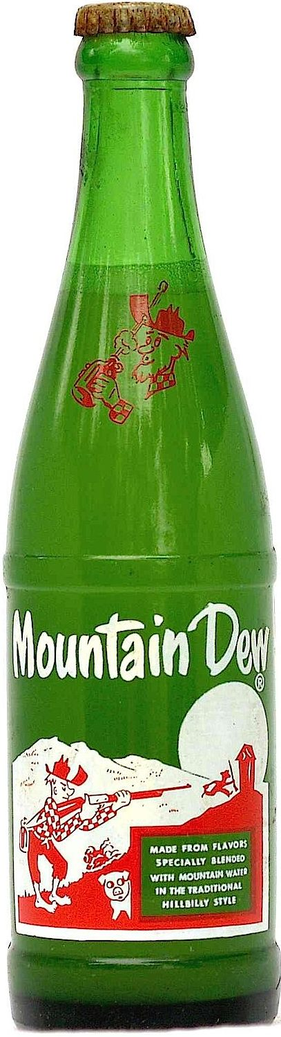 a full 1960s Mountain Dew bottle photograph