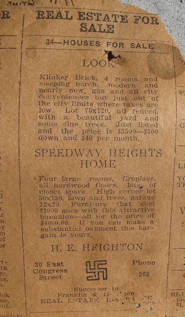 Swastika ad, 1926 newspaper Tucson, Arizona