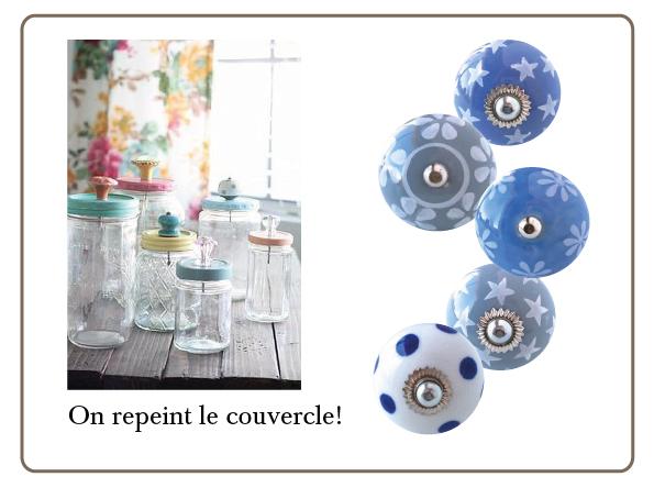 boutons de meubles bleu, boutons gris