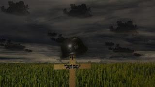crucifixo com capacete de soldado num campo de batalha