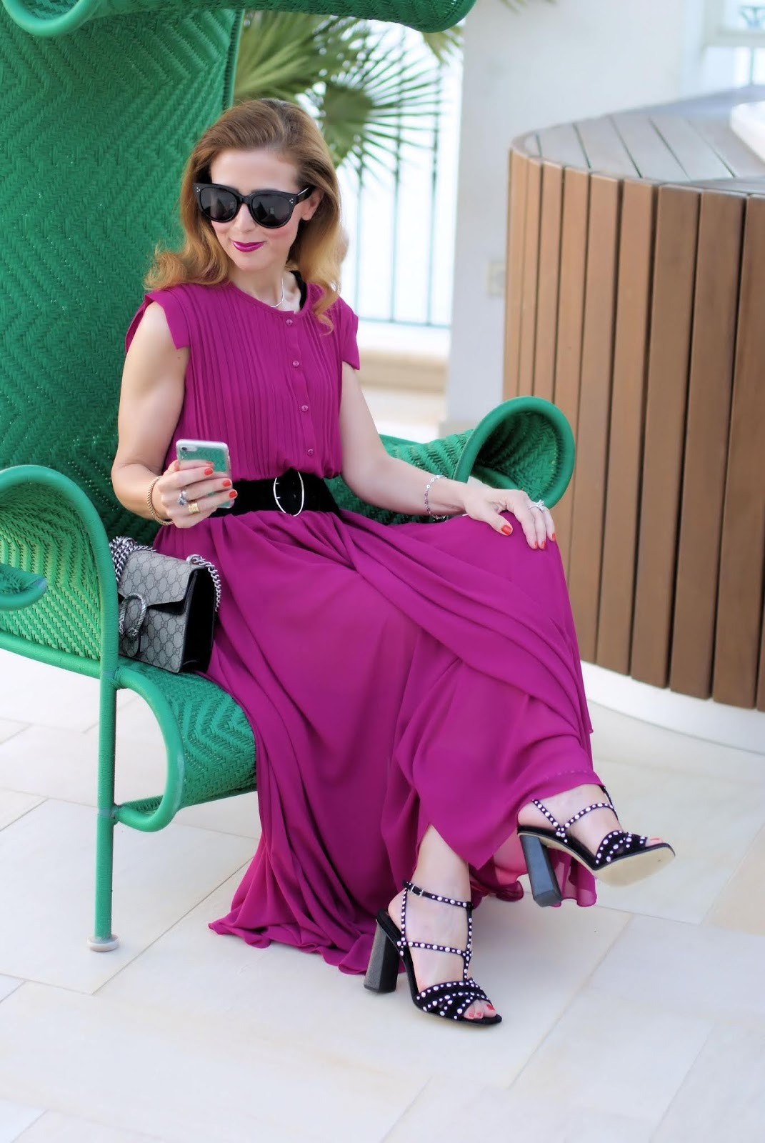 Raspberry chiffon maxi dress by Zahir on Fashion and Cookies fashion blog, fashion blogger style