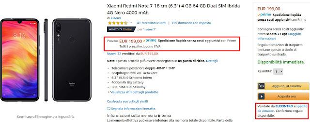Xiaomi Redmi Note 7 4/64 GB disponibile a 199 euro spedito da Amazon