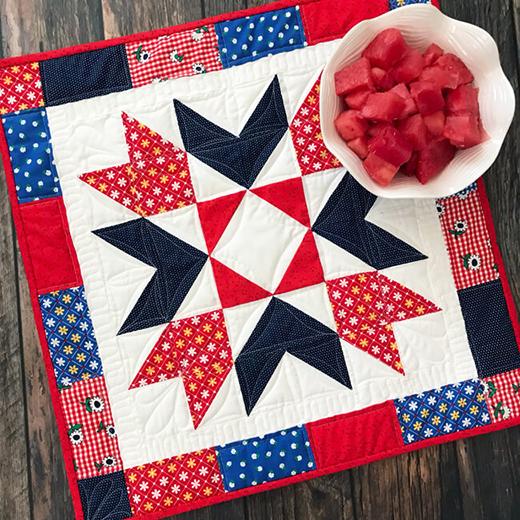 Sunnyside Star Table Topper Quilt Free Pattern