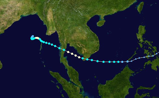 Đường đi của bão Linda năm 1997. Hình ảnh: NASA/Chú thích: WikiProject Tropical cyclones.