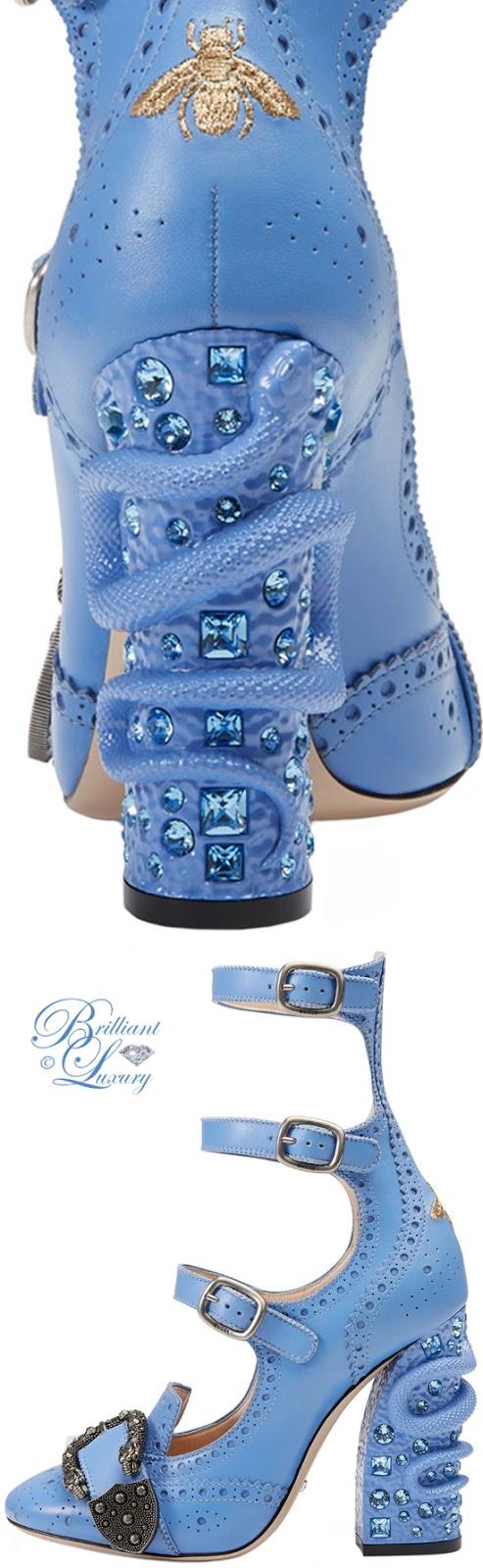 Brilliant Luxury ♦ Gucci Triple-Strap Snake-Heel Pump