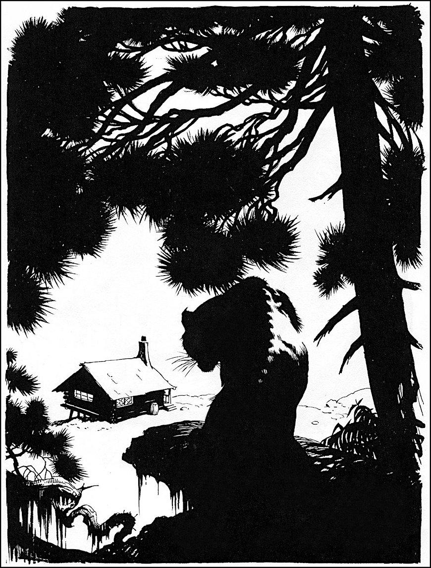 Frank Frazetta comic book art, in silhouette a big cat stalks a cabin