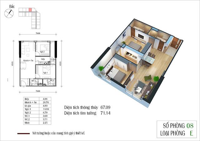 Thiết kế căn hộ 08 tòa CT2 Eco Green City