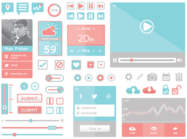 25 Trendy Free Flat UI Kits for User Interface Designers