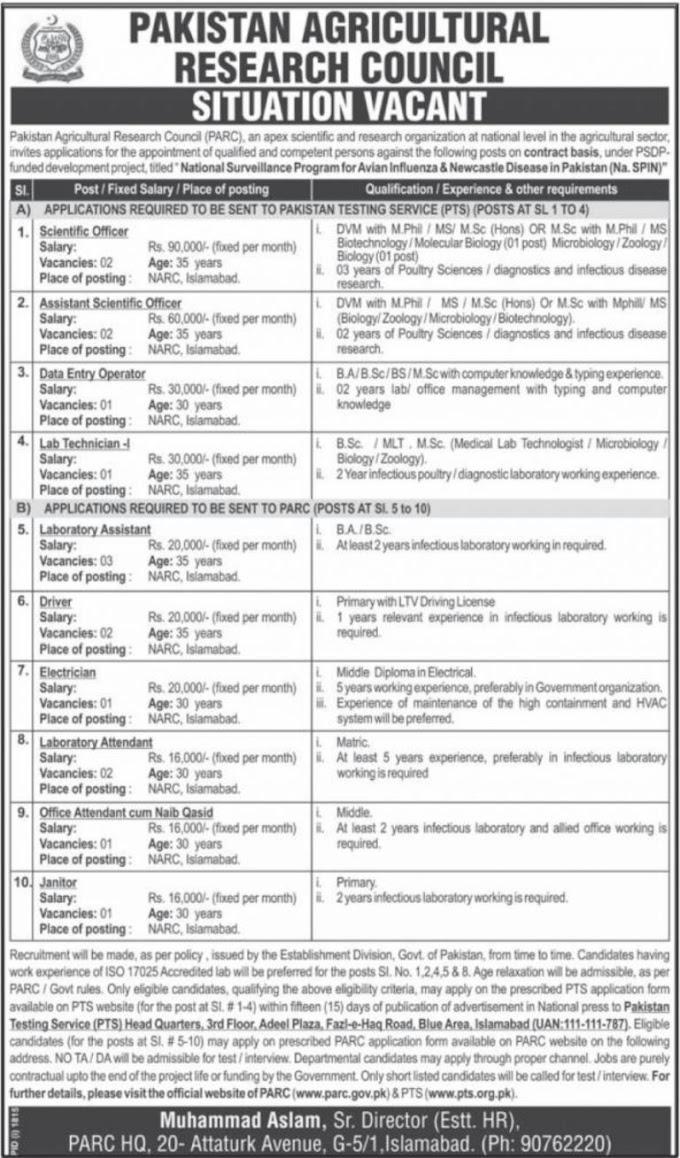 Pakistan Agricultural Research Council PARC Jobs 2018