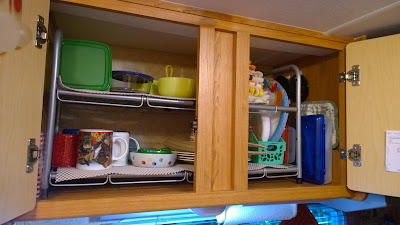 rv organization, trailer shelving, rv kitchen