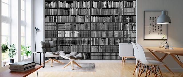 Kirjahylly tapetti Valokuvatapetit kuviolla kirjahyllytapetti musta valkoinen