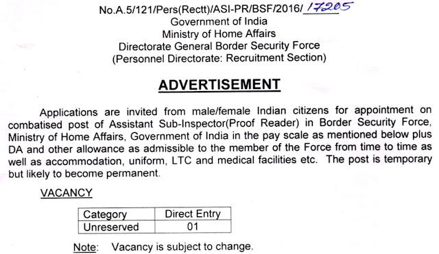BSF Recruitment Advertisement