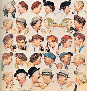 A ilustração de Norman Rockwell mostra cinco linhas com pares de pessoas conversando frente a frente. Os personagens são retratados do peito para cima, tem idade entre mais ou menos quarenta e setenta anos. Todos usam penteados, chapéus e roupas da década dos anos cinquenta. A conversa que sugere uma grande fofoca que se inicia na primeira linha com uma mulher idosa de cabelos brancos, ela usa elegante chapéu branco com flores e luva preta. A mulher coloca a mão em concha próxima a boca e fala com uma senhora gorda e ruiva com ar de espanto. Assim sucessivamente as informações vão sendo transmitidas de um para o outro. Alguns olham com ar de incredulidade, outros gargalham, apontam, falam ao telefone. Até que a última pessoa da última linha recebe a informação de um senhor de chapéu com dedo em riste acusando. A personagem que é acusada pelo senhor com dedo em riste é a primeira mulher da primeira linha que iniciou a fofoca.