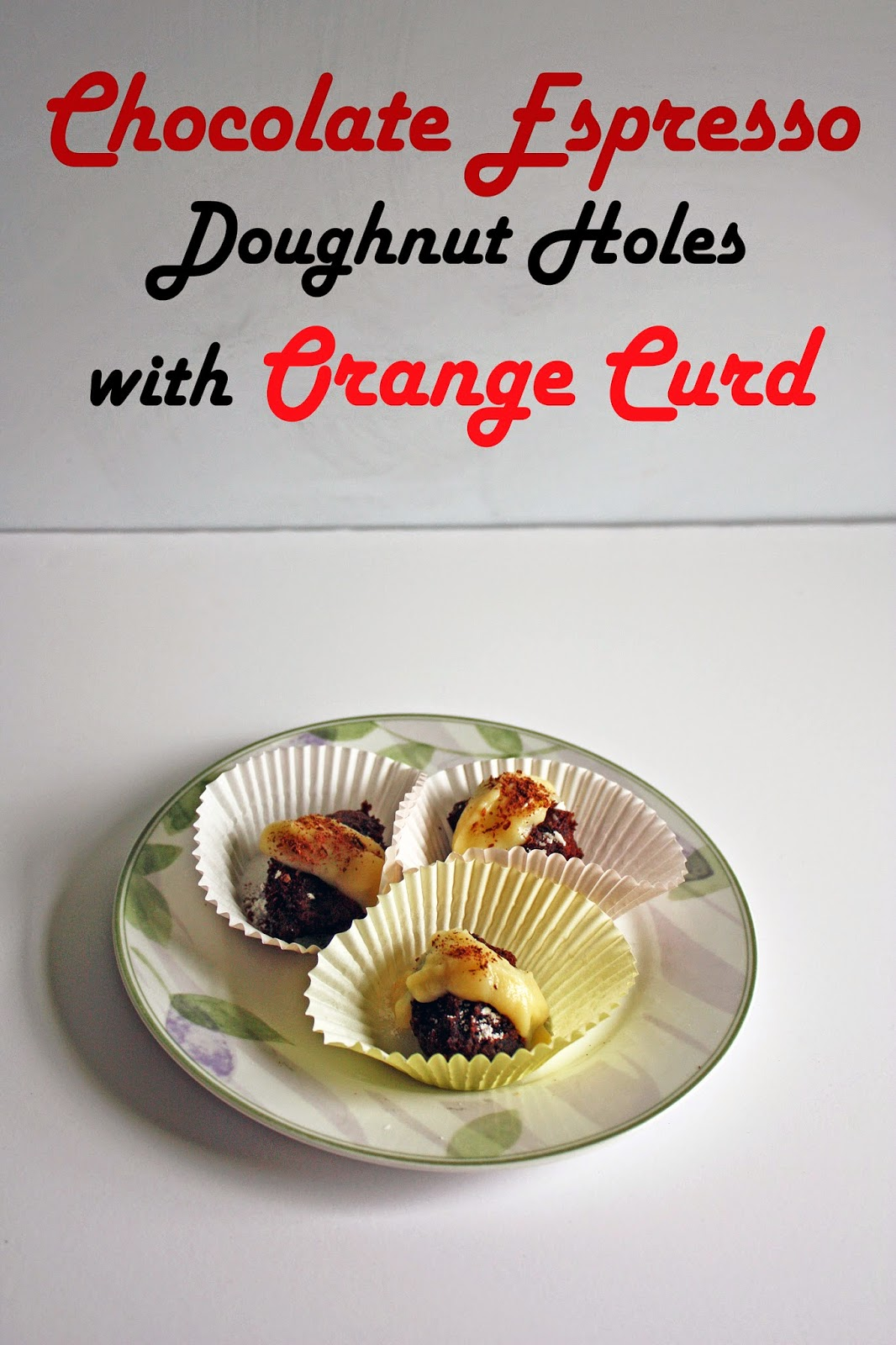 chocolate espresso doughnuts with orange curd
