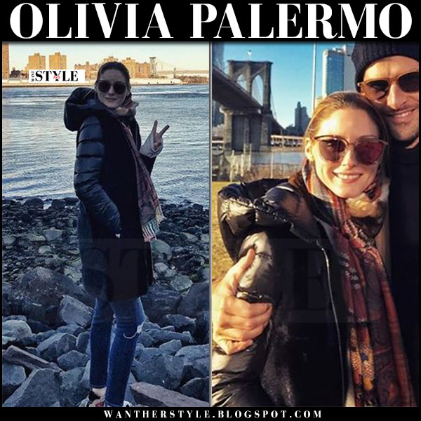 Olivia Palermo in black down coat mila, skinny jeans and high top sneakers max&co what she wore january 2017