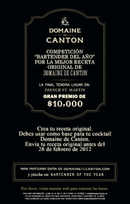 Concurso : Domaine de Canton Bartender of the Year 2012 Flyer