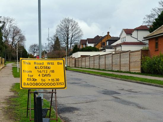 Road closure notice on Pine Grove. Image by North Mymms News released under Creative Commons