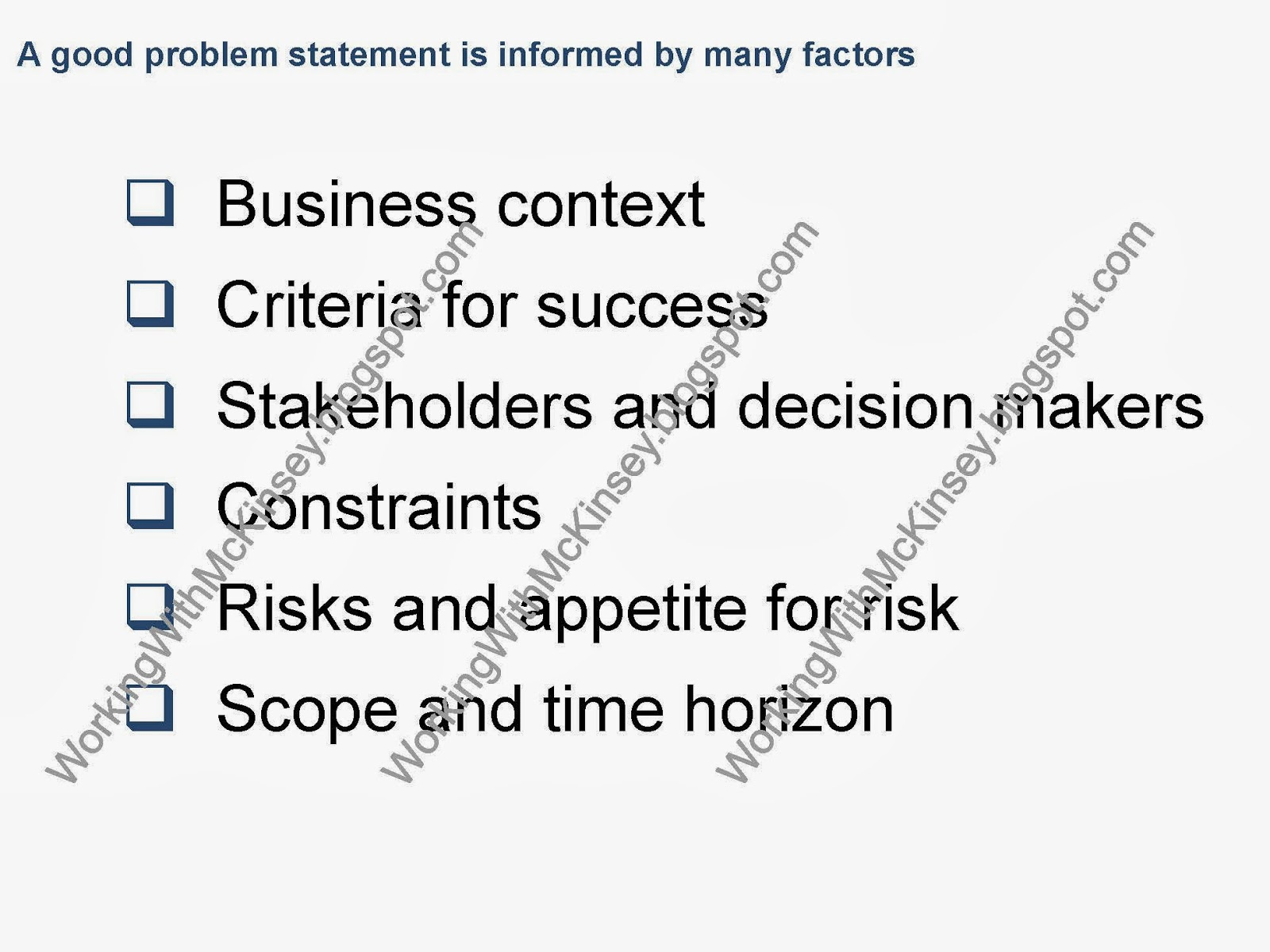 Working With Mckinsey What Is A Smart Problem Statement