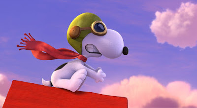 "Snoopy battles the Red Baron in ""The Peanuts Movie."""