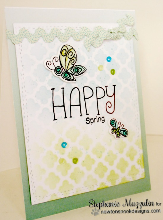 Happy Spring Card by Stephanie Muzzulin | Beautiful Wings Stamp set by Newton's Nook Designs #newtonsnook