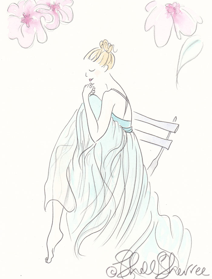 Aqua Ballerina in Garden on Pointe fashion illustration © Shell Sherree all rights reserved