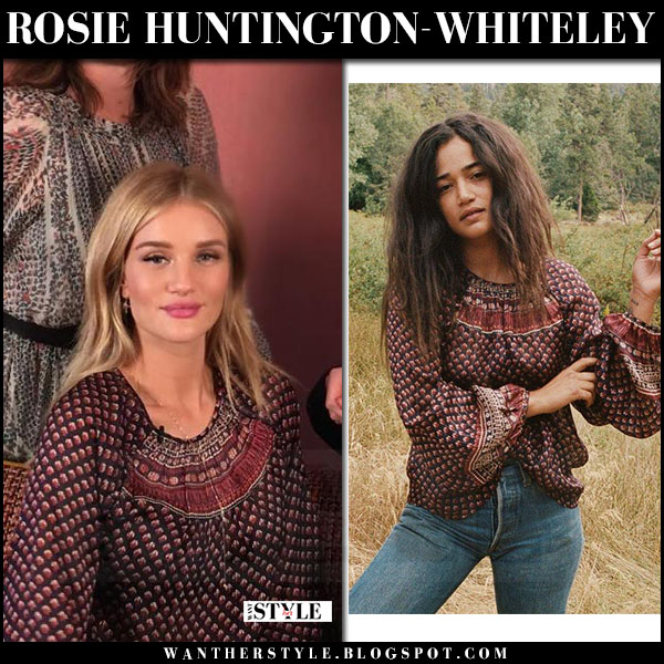 Rosie Huntington-Whiteley in red and navy printed blouse doen collective and anita ko necklace what she wore
