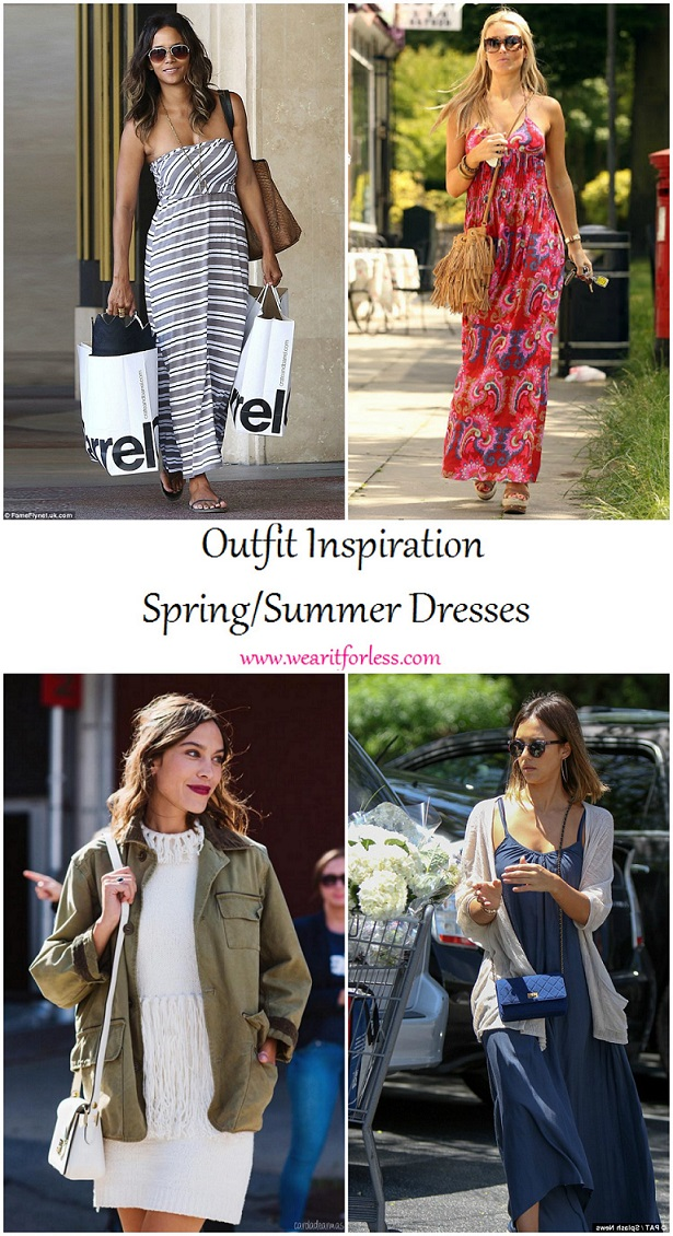 Halle Berry, Alexa Chung, Jessica Alba, and Alex Curran Gerrard in spring and summer dresses, celebrity street style, celebrities wearing dresses