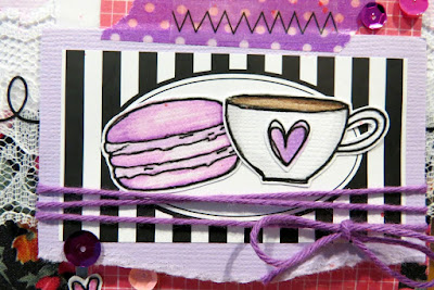 SRM Stickers Blog - Coffee Lover's Blog Hop with Shannon - #coffeeloversblog #coffee #tea #card #clearstamps #teatime #labelsbythedozen #stickerstitches #solidtwine #twine #lace #floralribbon