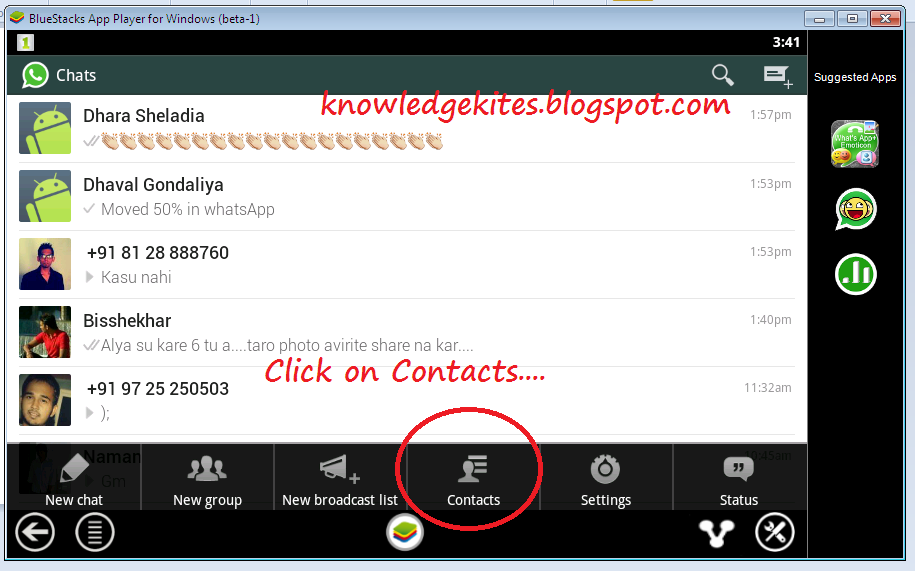 Add contact number in whatsApp manually step 2